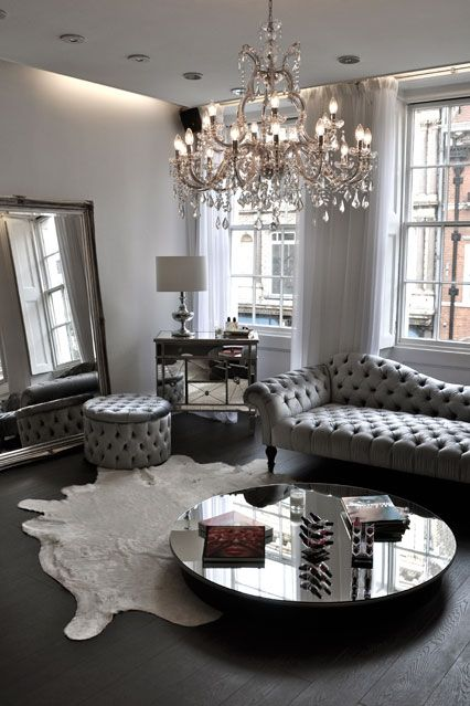 elegant living room with large chandelier