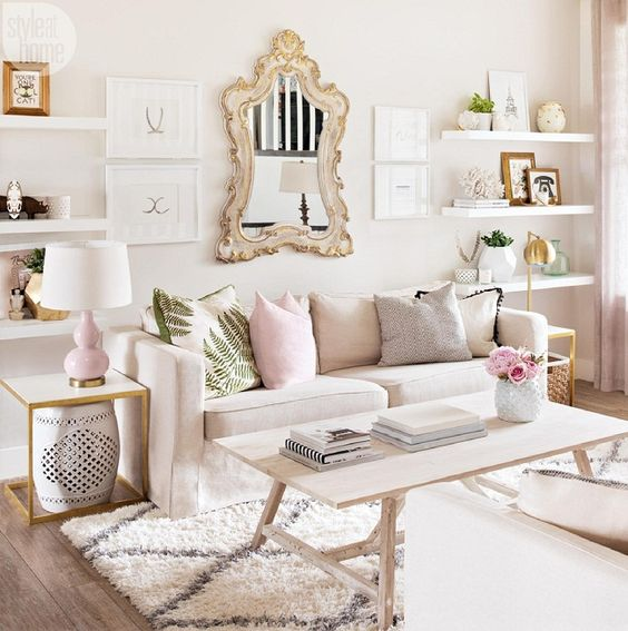 small living room with mirror wall decor