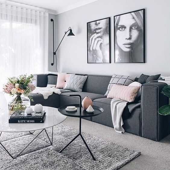 scandi syle living room idea with gray sofa