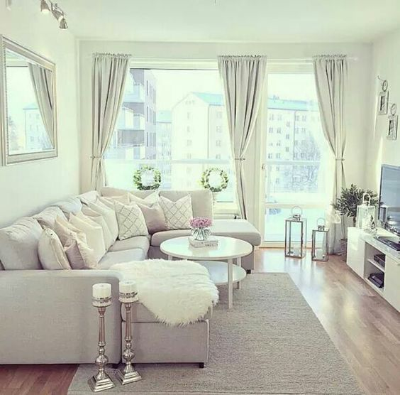 small gray living room with hardwood flooring