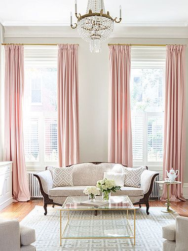 traditional living room with pink curtains