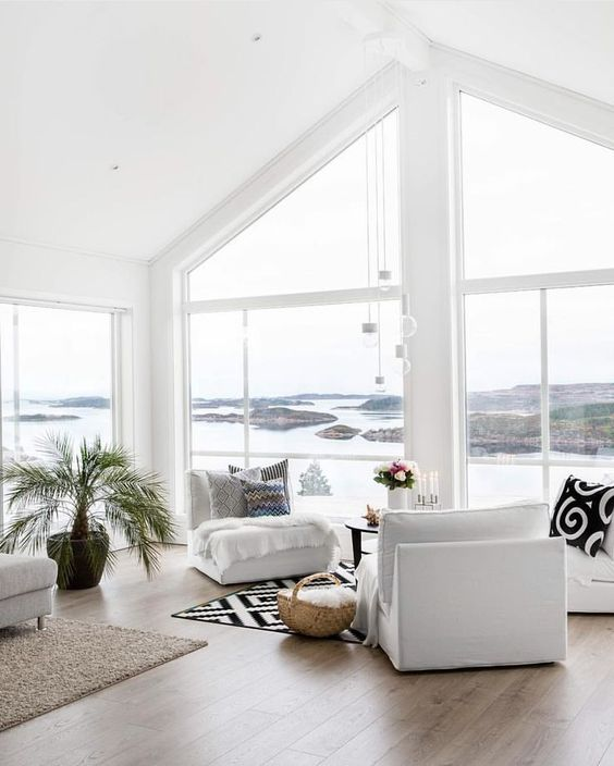 pair of armchairs nook with window view