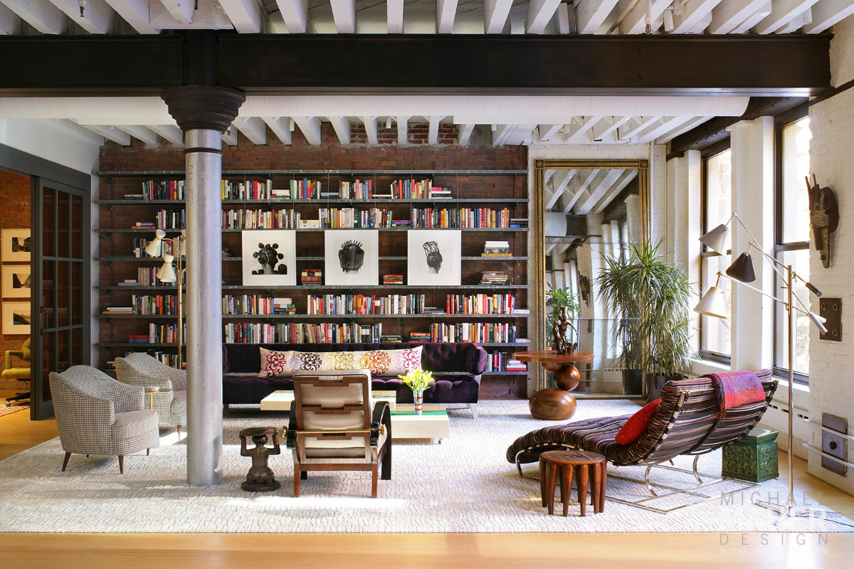 Beautiful Apartment Living Room With Brick Wall And Huge Bookshelf Book Lovers Dream Living Room - 53 Cool Living Rooms With Irresistible Modern Appeal