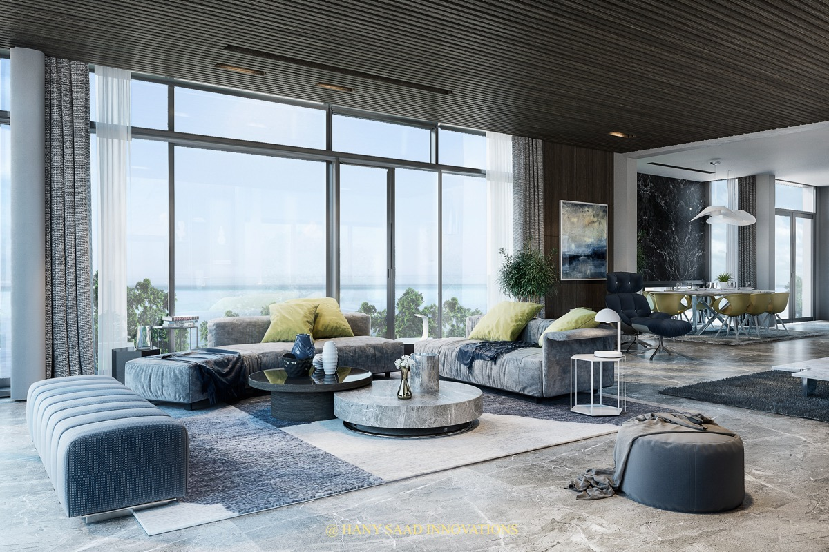 Beautiful Blue Living Room With View Of Ocean Open Concept Seating Area With Dining Room - 53 Cool Living Rooms With Irresistible Modern Appeal