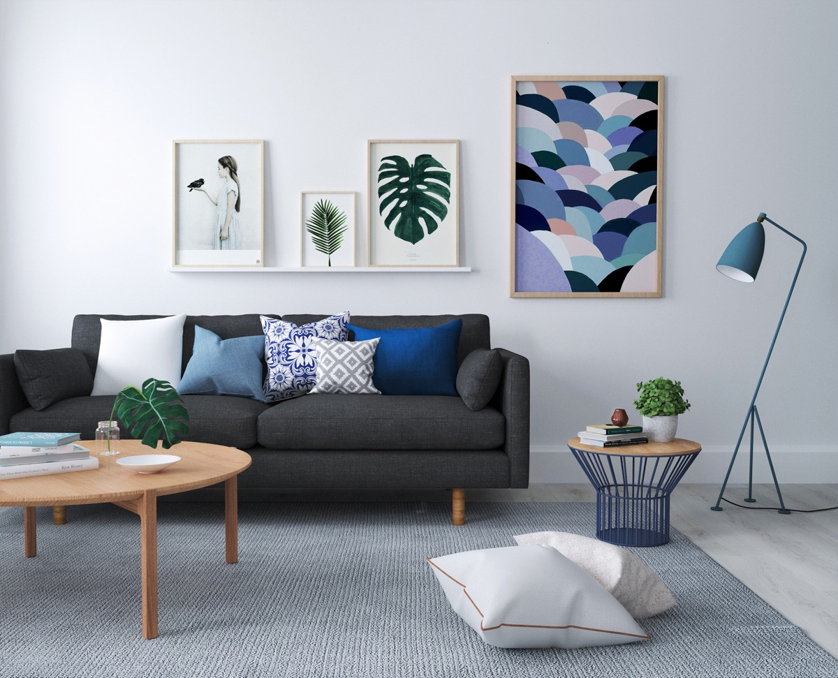 Beautiful Blue Living Rooms With Scandinavian Style Light Wood Furniture Colorful Framed Art Prints - 53 Cool Living Rooms With Irresistible Modern Appeal