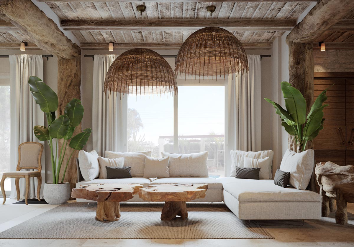 Beautiful Coastal Living Room White Rustic Decor Tree Trunk Table Birds Of Paradise And Wicker Lighting - 53 Cool Living Rooms With Irresistible Modern Appeal