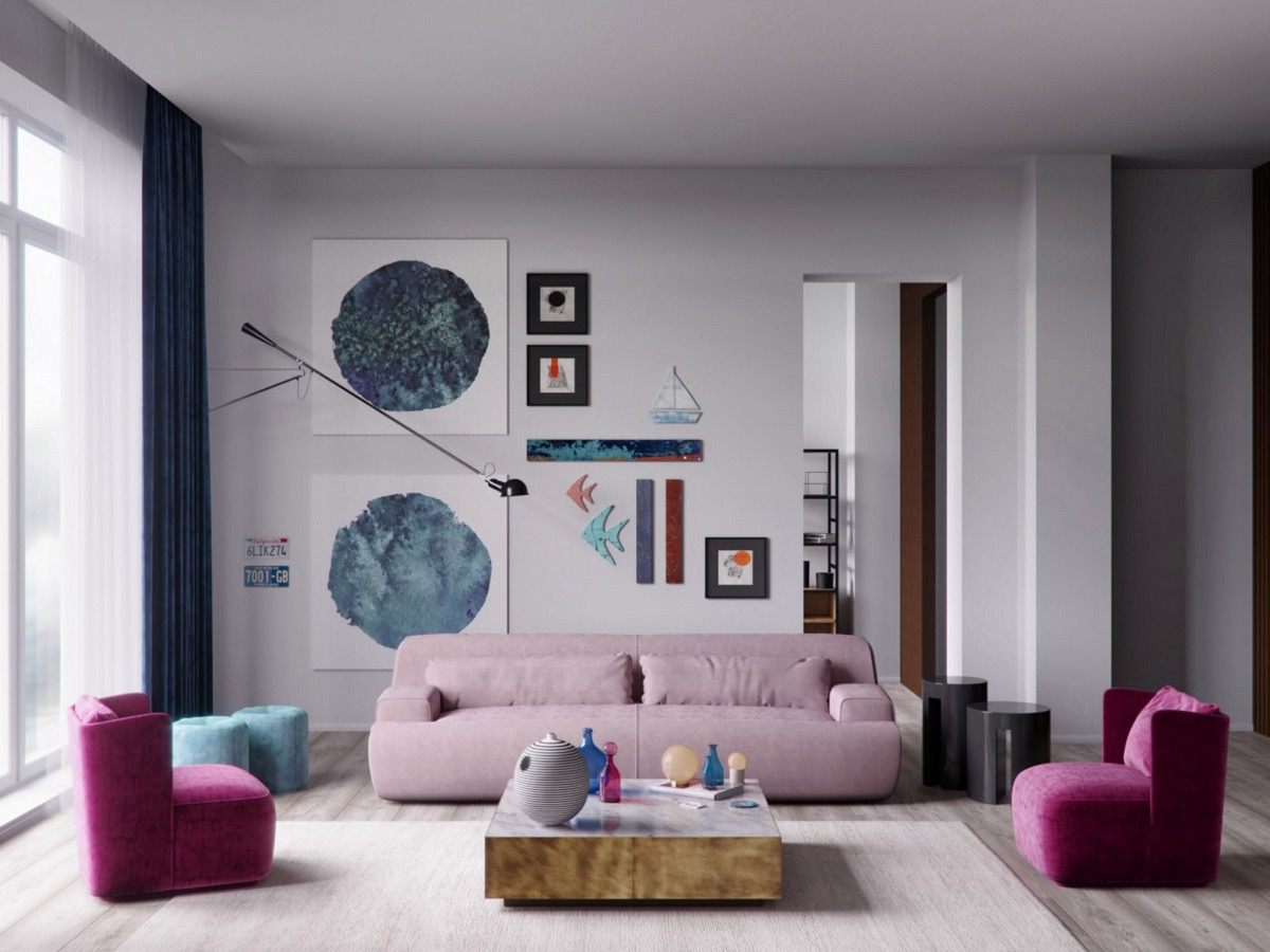 Beautiful Color Living Rooms With Dark Blue Pink Magenta Low Furniture Fun Eclectic Design - 53 Cool Living Rooms With Irresistible Modern Appeal