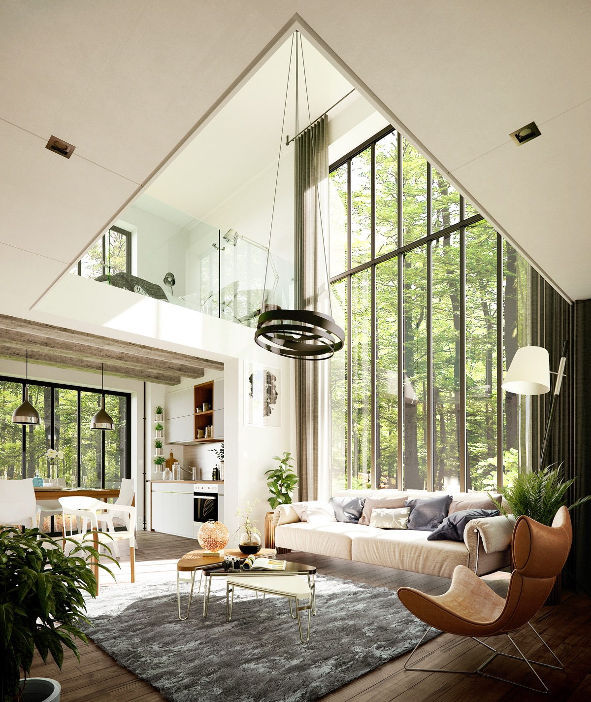 Beautiful Country Living Rooms With Mid Century Modern Furniture High Ceilings Large Windows - 53 Cool Living Rooms With Irresistible Modern Appeal