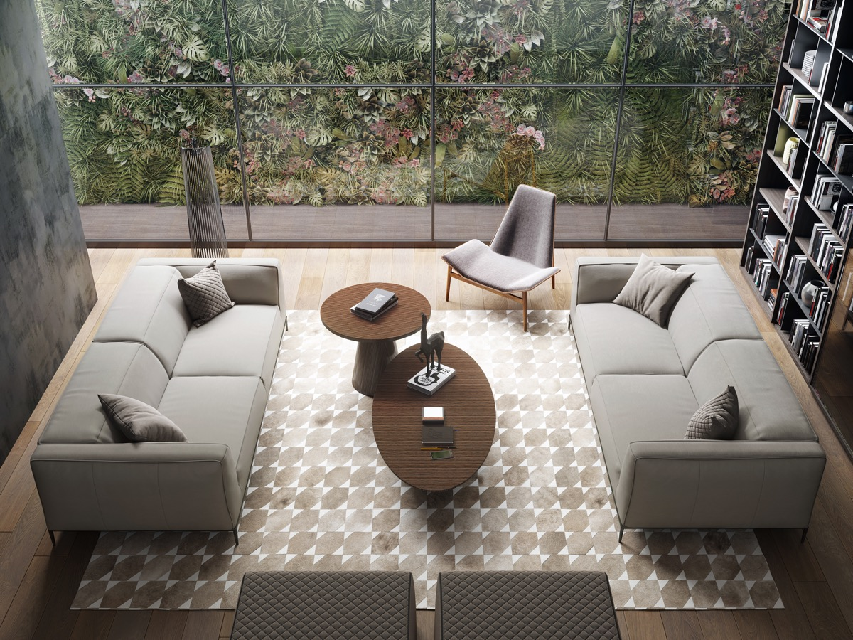 Beautiful Formal Living Room With Neutral Colors Patterned Rug And Large Window Overlooking Garden - 53 Cool Living Rooms With Irresistible Modern Appeal