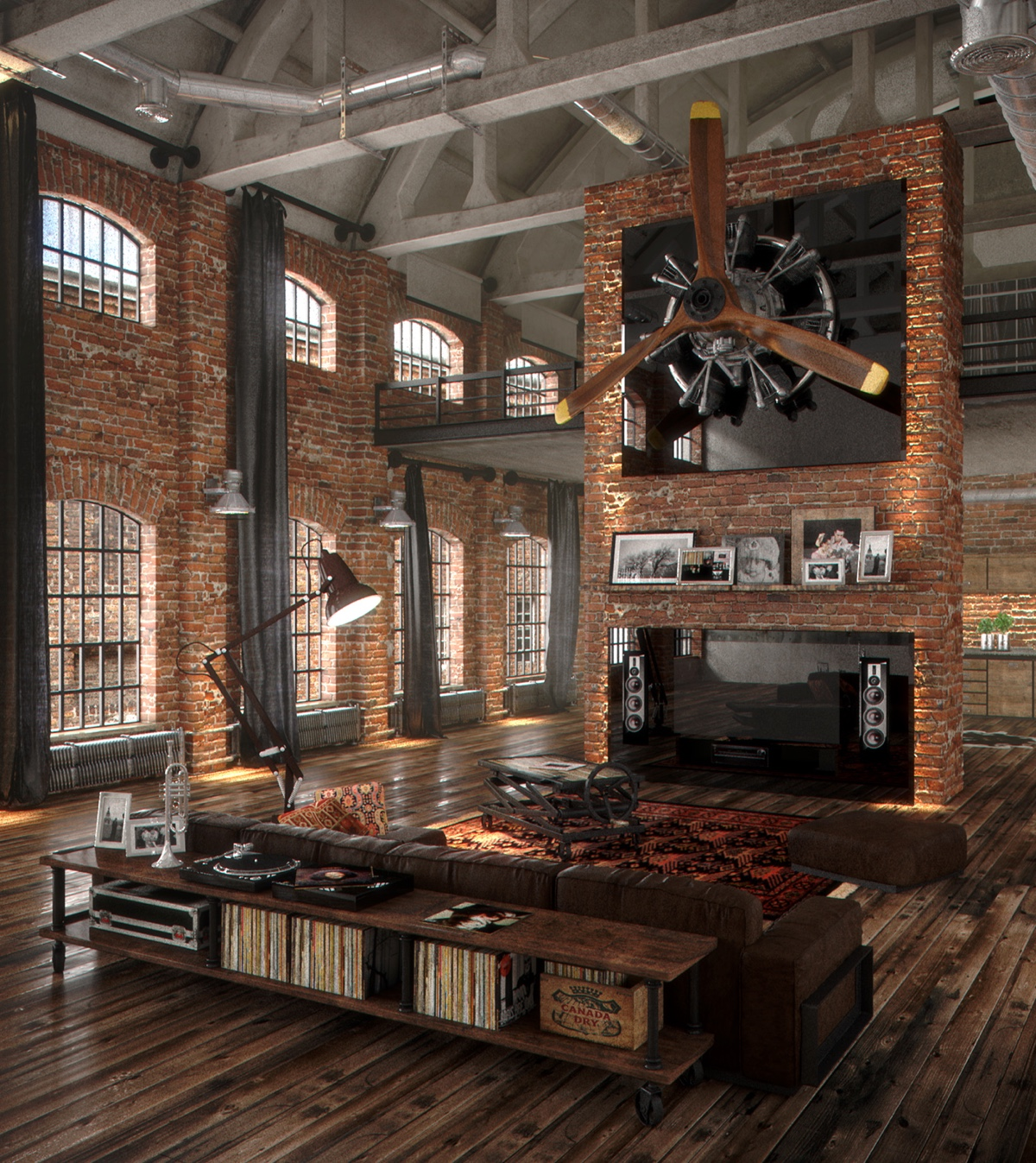 Beautiful Industrial Living Room In Loft With Wood Floors Brick Walls With TV And Plane Propeller - 53 Cool Living Rooms With Irresistible Modern Appeal