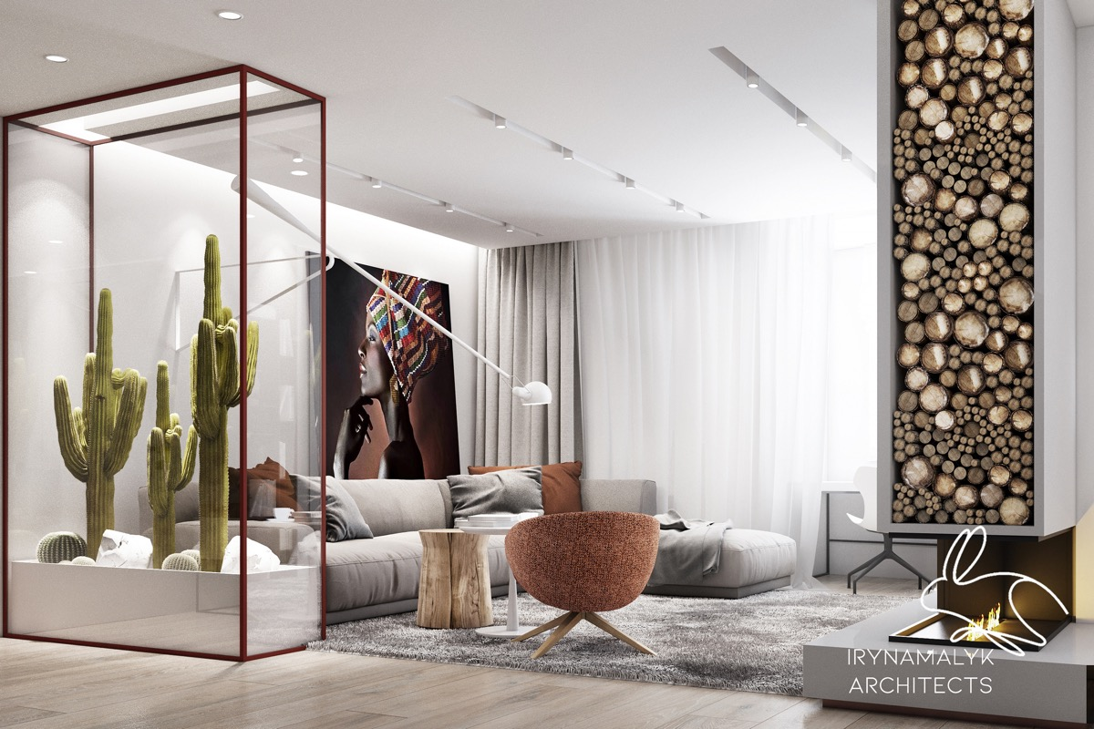 Beautiful Living Room With Fireplace Desert Cactus Indoor Decor African Woman Painting - 53 Cool Living Rooms With Irresistible Modern Appeal