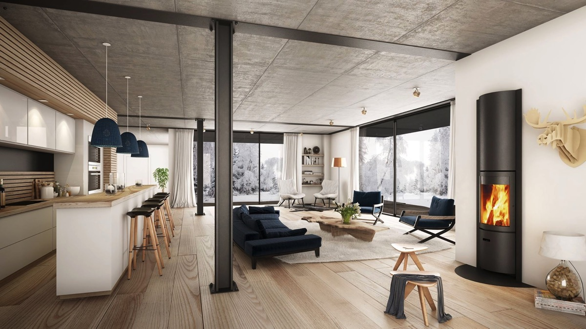 Beautiful Open Livinf Room With Cozy Fireplace And Rustic Decor Off Kitchen With Large Windows - 53 Cool Living Rooms With Irresistible Modern Appeal