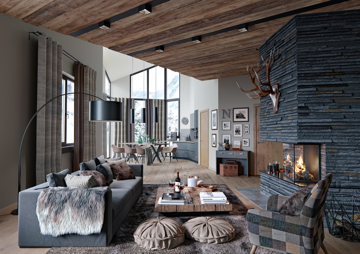 Beautiful Rustic Living Room With Fireplace And Open Design Neutral Color Cottage Living Room - 53 Cool Living Rooms With Irresistible Modern Appeal