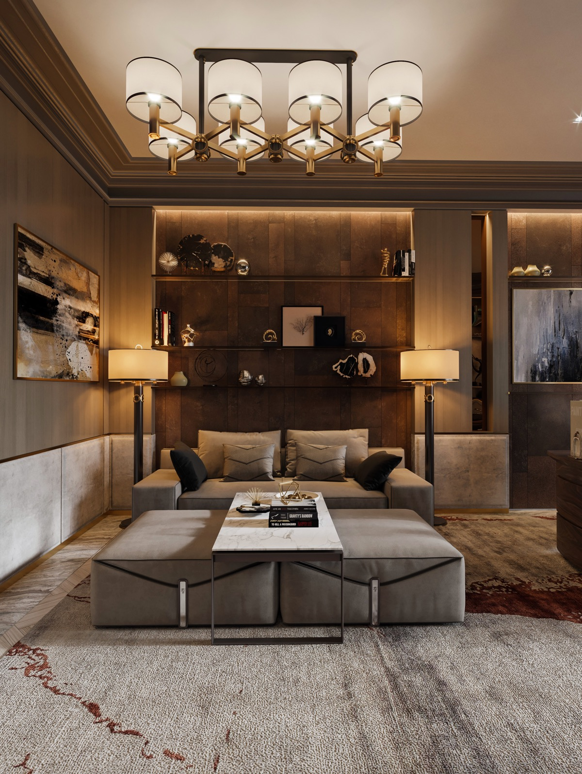 Beautiful Traditional Living Rooms With Grey Couch And White Marble Coffee Table - 53 Cool Living Rooms With Irresistible Modern Appeal