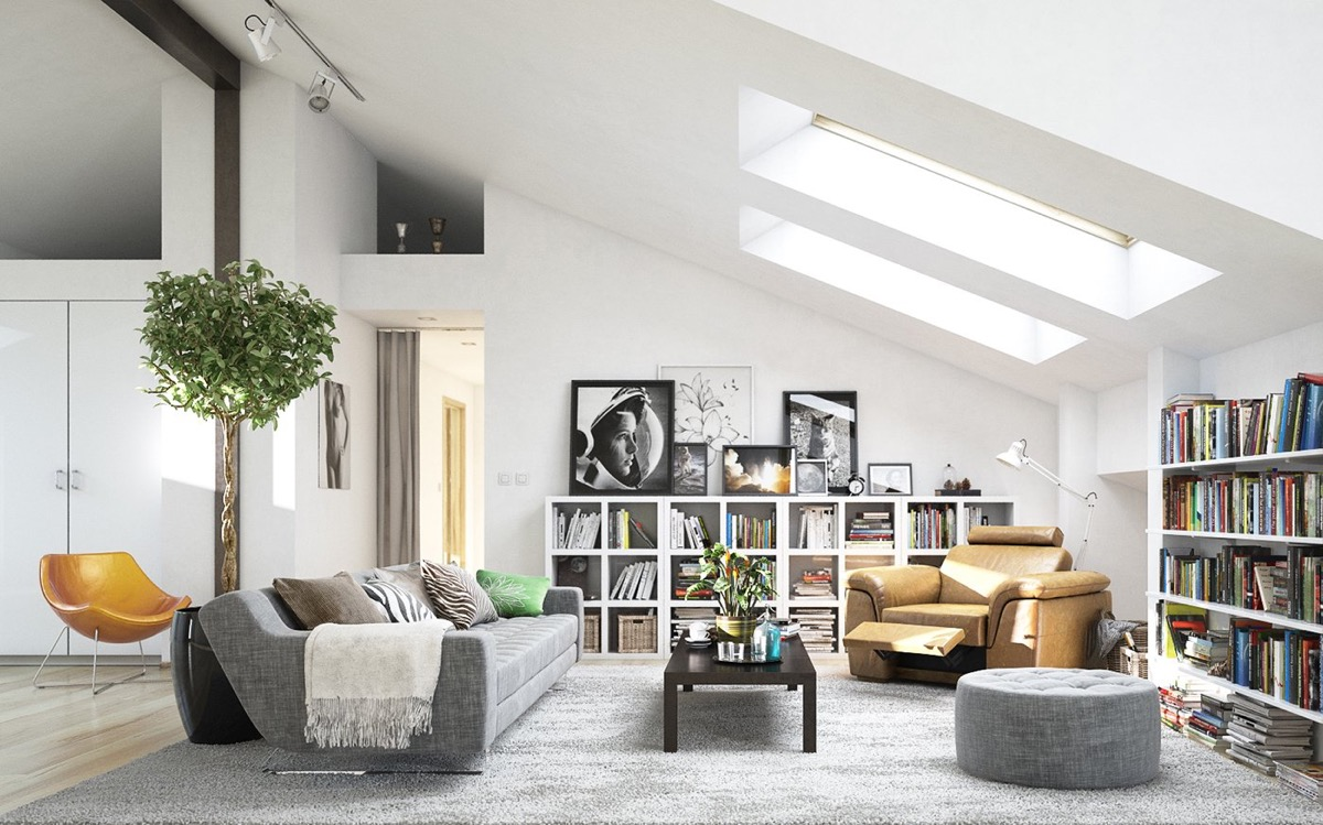 Beautiful White Living Room Modern With Skylights And Bookshelves - 53 Cool Living Rooms With Irresistible Modern Appeal