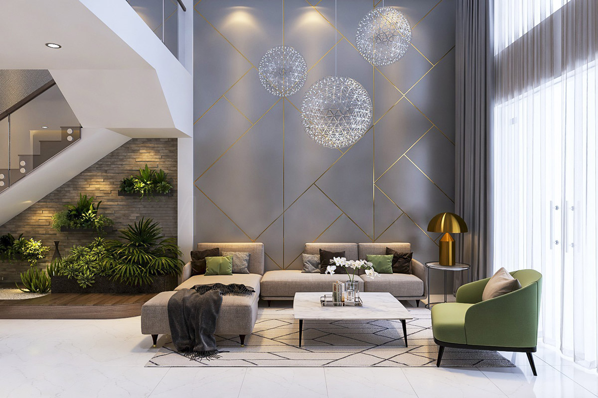 Geometric Gold And Grey Accent Wall In Beautifu Grayl Living Room With Gold Mushroom Lamp - 53 Cool Living Rooms With Irresistible Modern Appeal