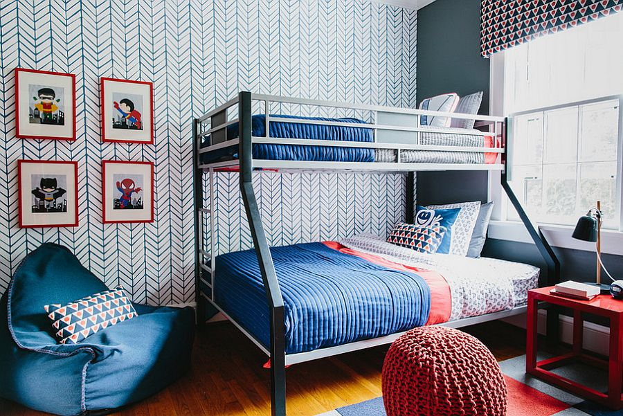 Kids bedroom with chevron pattern accent wallpaper and bunk bed - 7 Tips For Kids Bedroom And Kids Bedroom Ideas