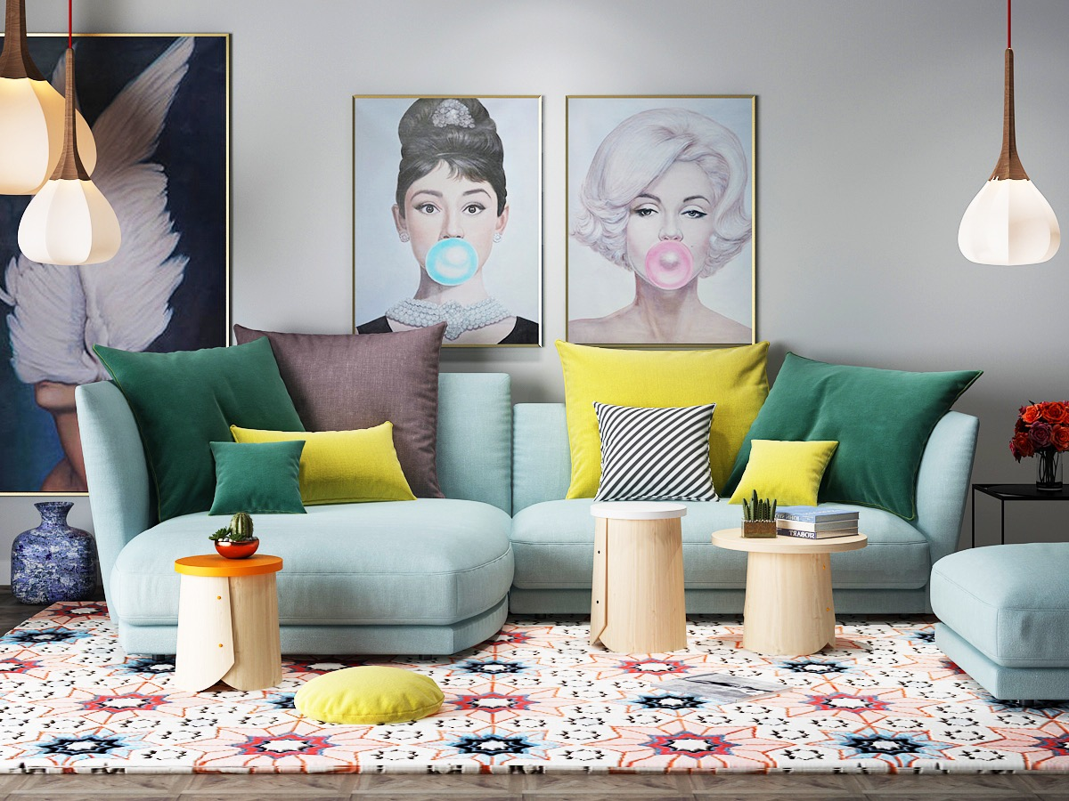 Small Beautiful Living Room With Powder Blue Sofa And Pop Art Eclectic Retro Decor - 53 Cool Living Rooms With Irresistible Modern Appeal
