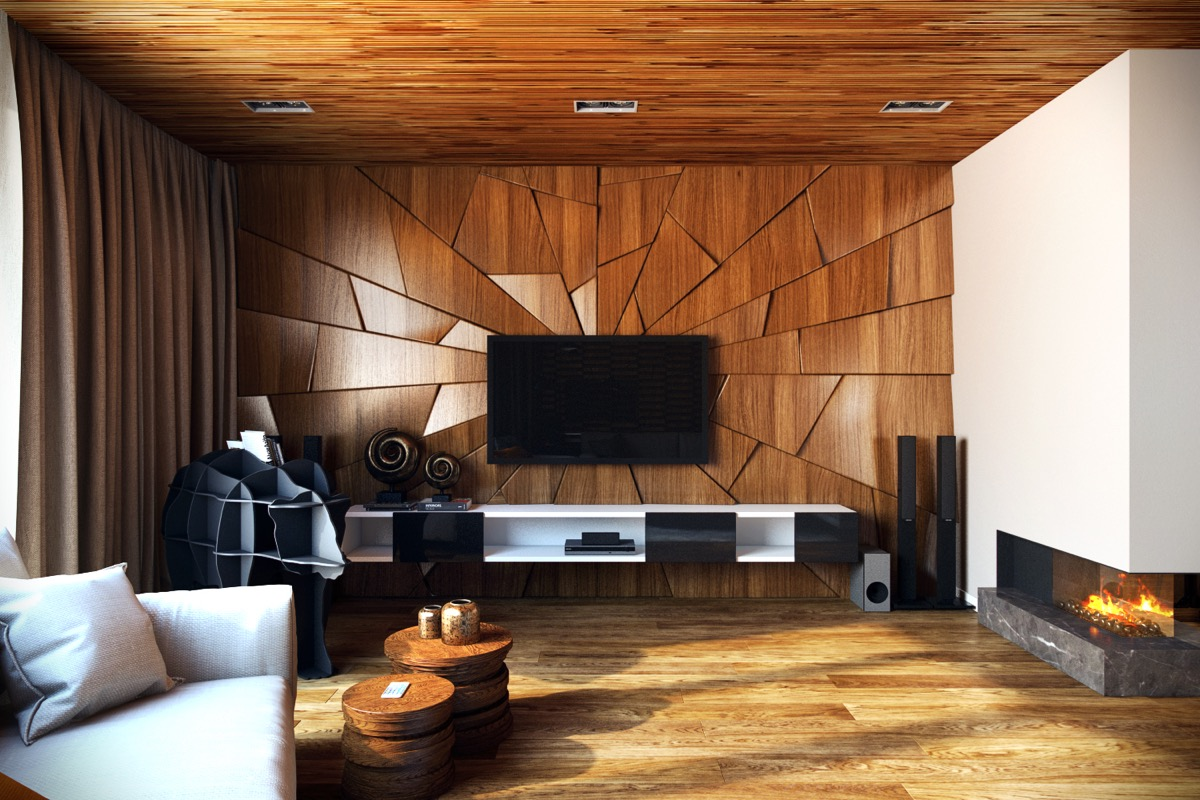 wood finish accent walls - 50+ Ideas To Decorate The Wall You Hang Your TV On