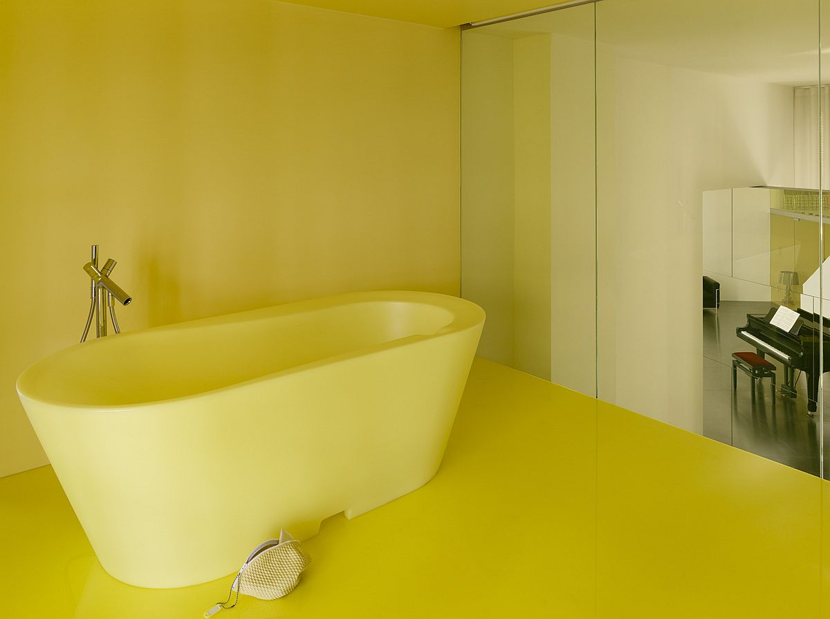 1557230088 446 remodeled loft inside old school building in brussels with yellow panache - Remodeled Loft Inside Old School Building in Brussels with Yellow Panache!