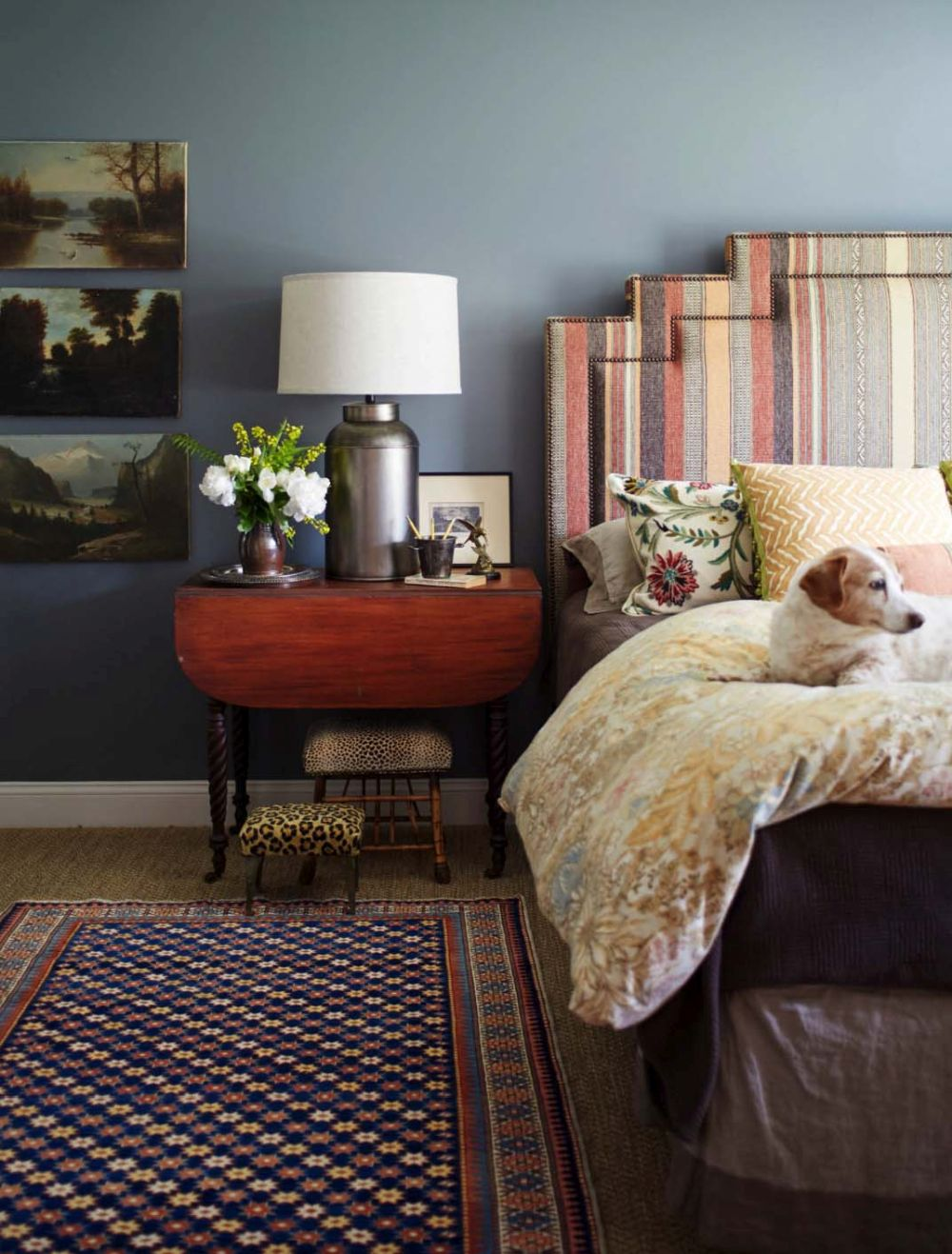 Colorful rugs and artwork give each room a special, custom appearance