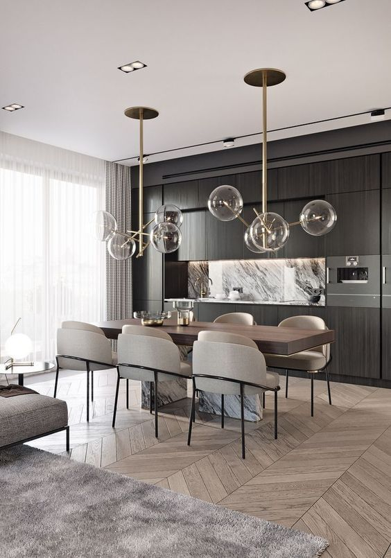 kitchen with dining table design idea 6