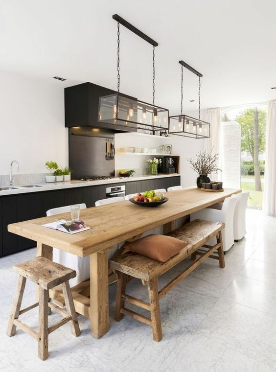 kitchen with dining table design idea 7