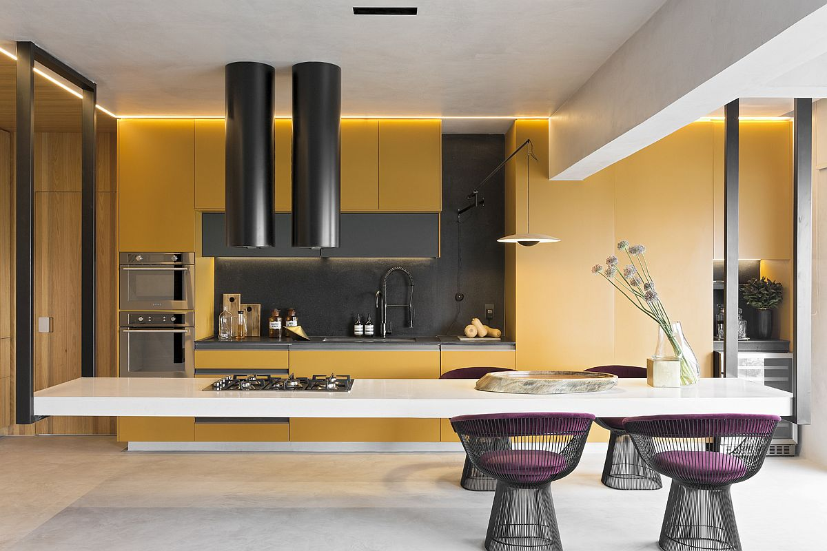 amazing hanging island shapes this awesome penthouse kitchen in sao paulo - Amazing Hanging Island Shapes This Awesome Penthouse Kitchen in Sao Paulo