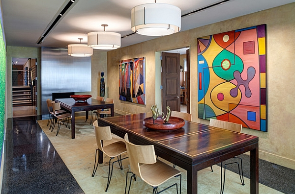 Dining area doubles as a modern gallery for an impressive art collection