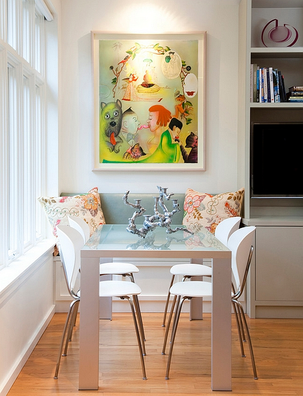 Eclectic dining room with a window seat