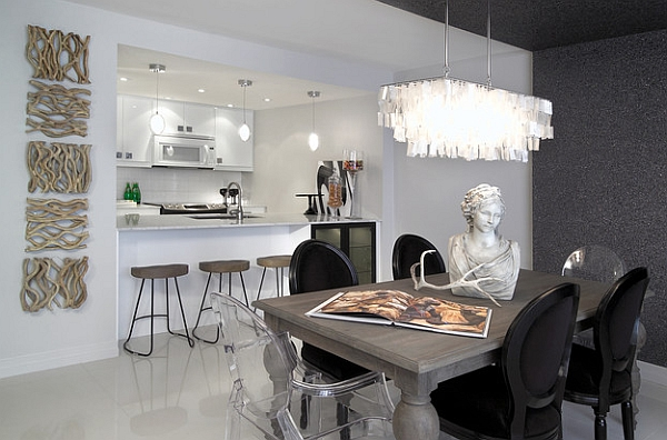 Dining table chairs exude cool textural contrast