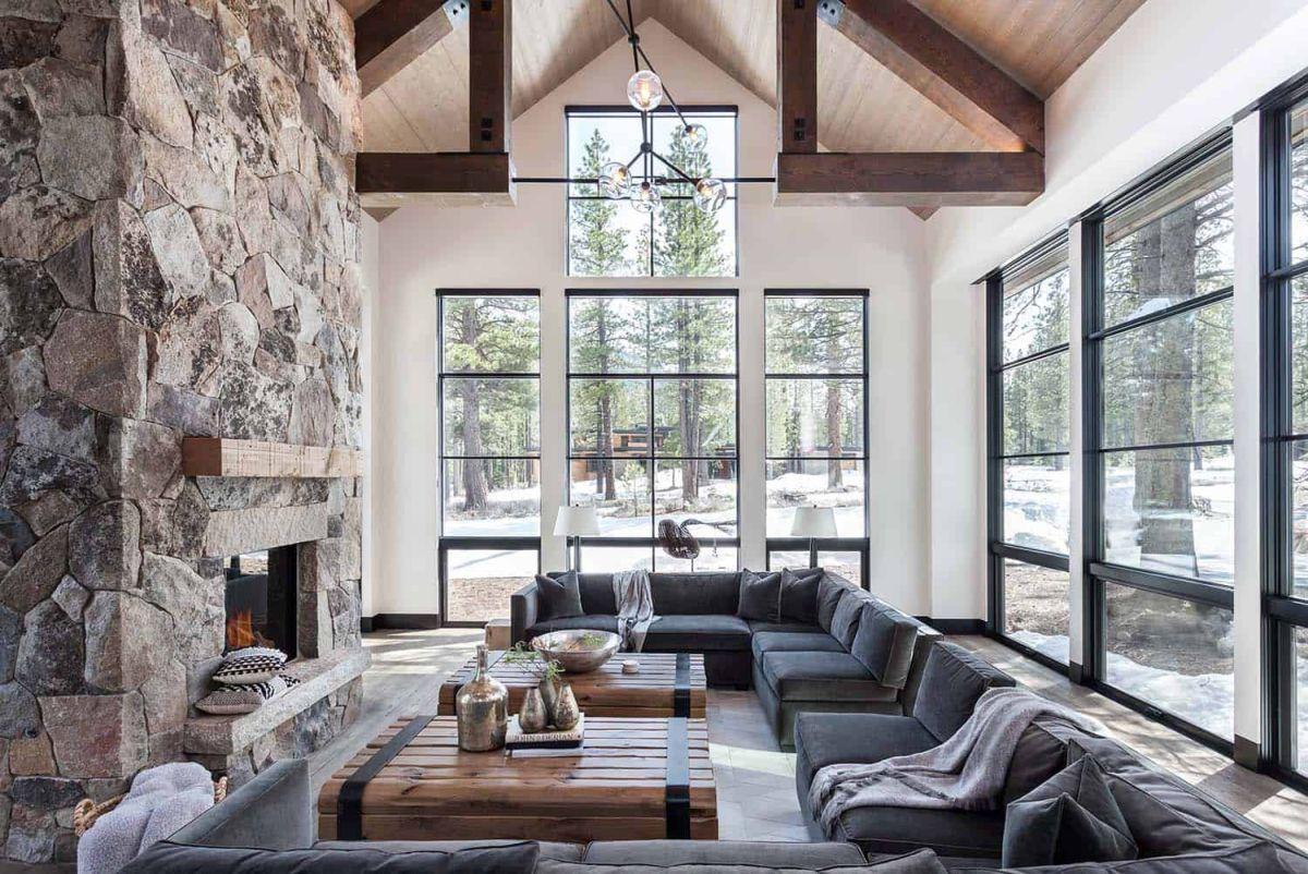 High ceilings and large windows create a very airy and open ambiance in the living room
