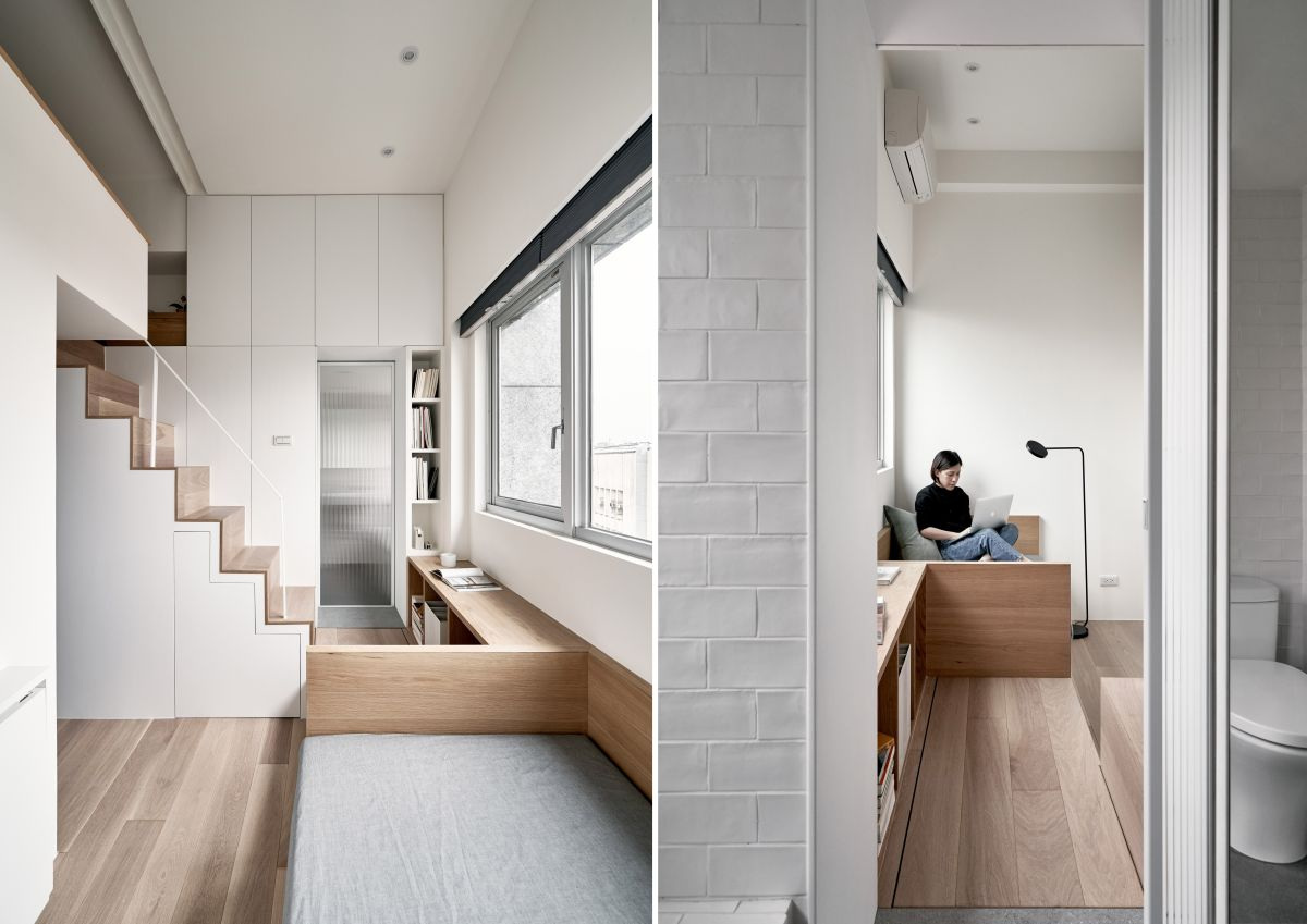 Given the very reduced proportions of the apartment, the palette of colors and materials used throughout are minimal