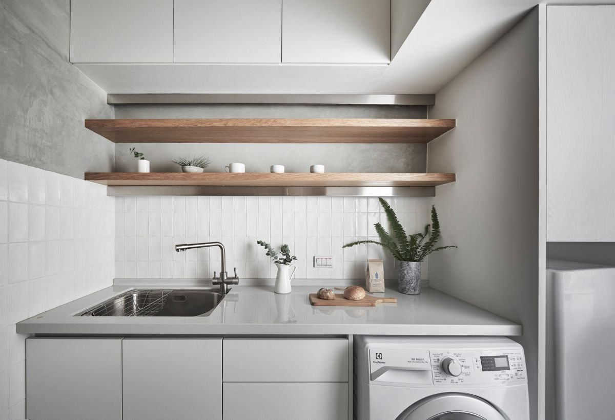There's enough counter space in the kitchen considering the footprint and a fair amount of storage in various forms