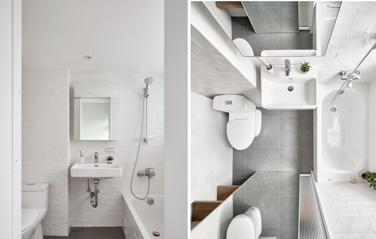 White is the primary color used in all the spaces, often complemented by light grey surfaces