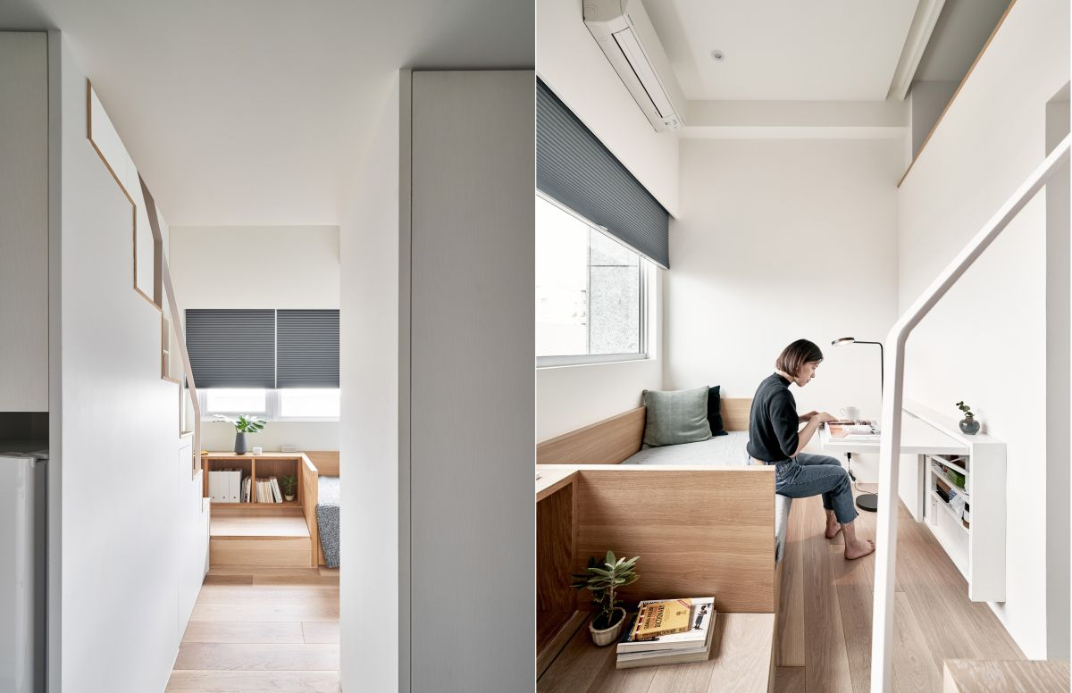 The built-in furniture and multifunctional elements are very space-efficient and ideal in this case