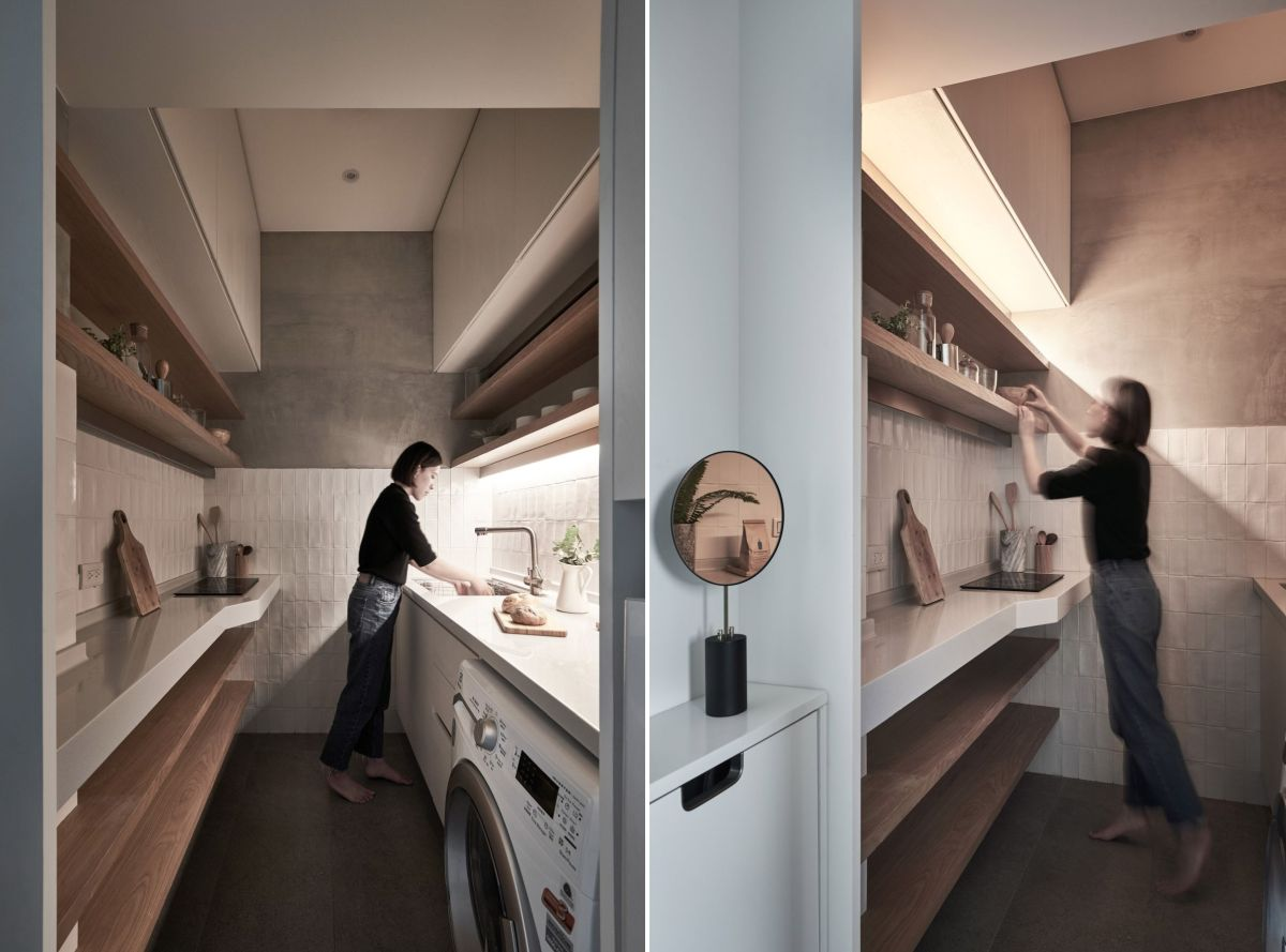 The new kitchen is more spacious than the original, with sufficient storage and room for a washing machine