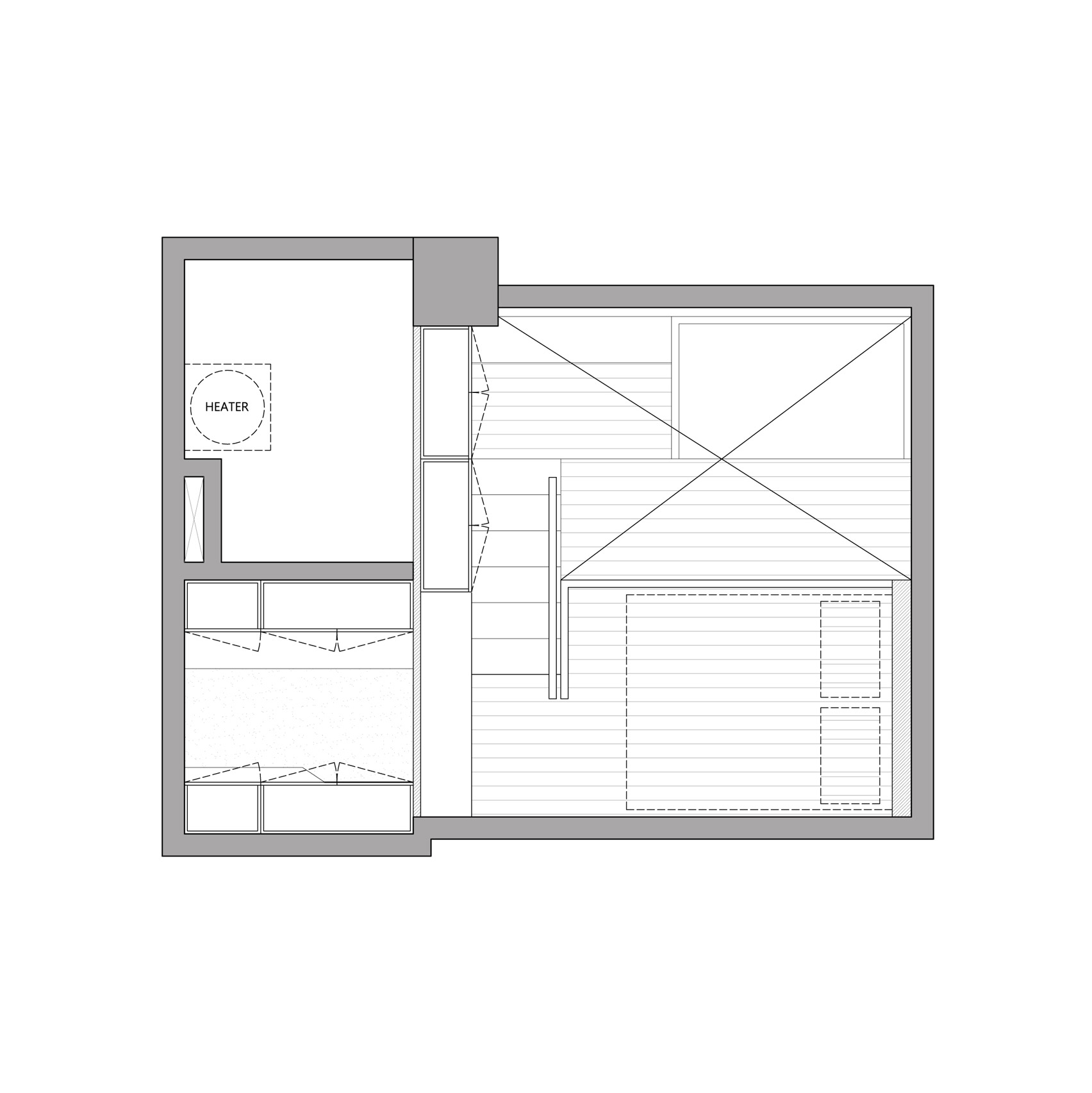 The mezzanine may be small but allows the apartment to include a queen-size bed which was previously impossible