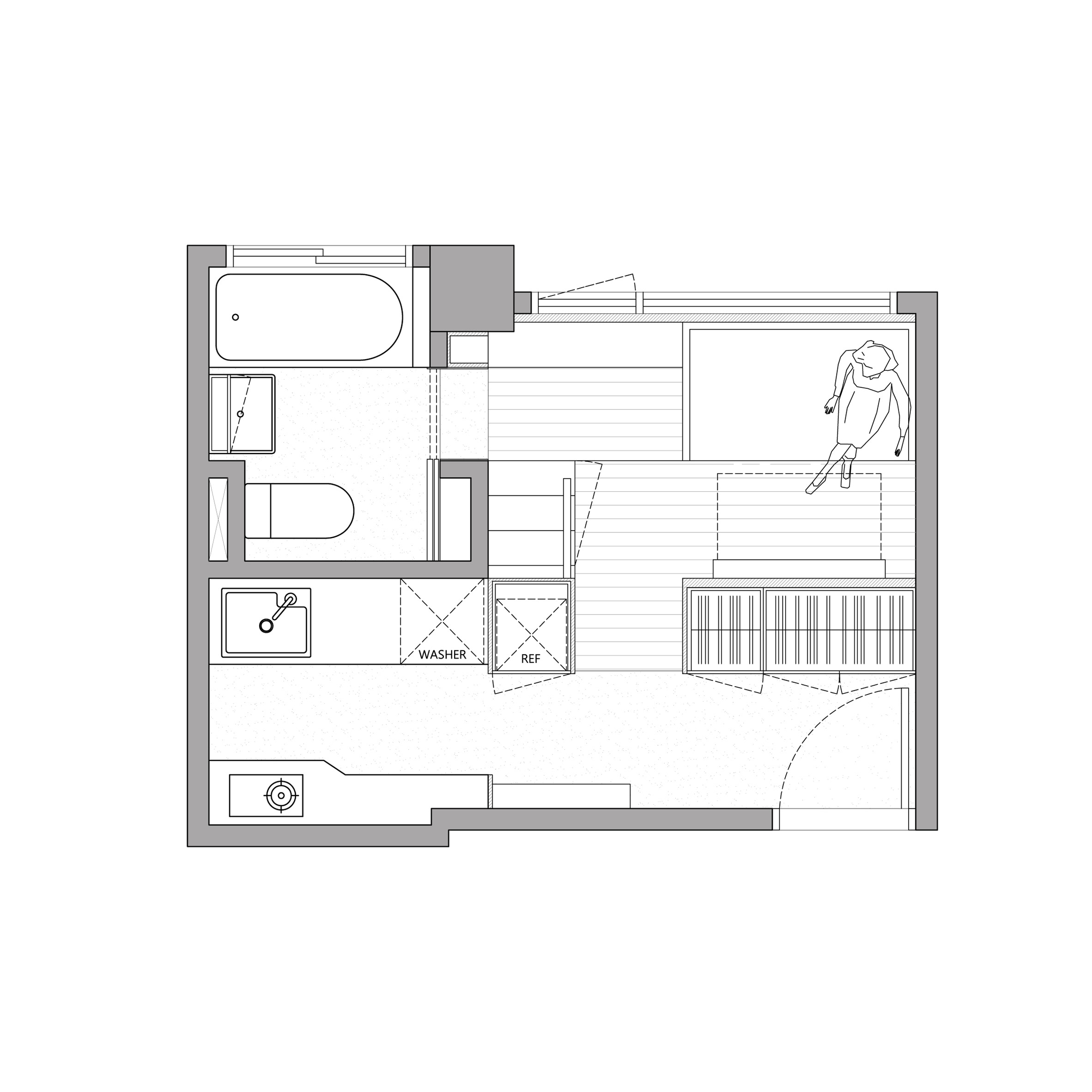 The plan reveals the space has been maximized as best as possible, especially on the main floor
