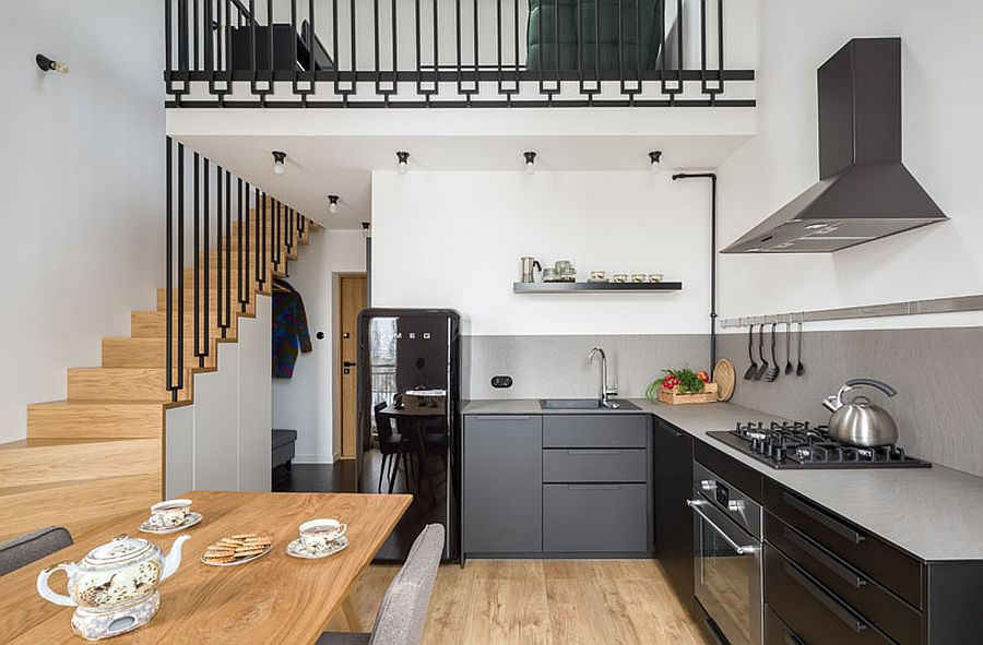 1561374944 992 space savvy tiny apartment in poland with mezzanine level in black and white - Space-Savvy Tiny Apartment in Poland with Mezzanine Level in Black and White