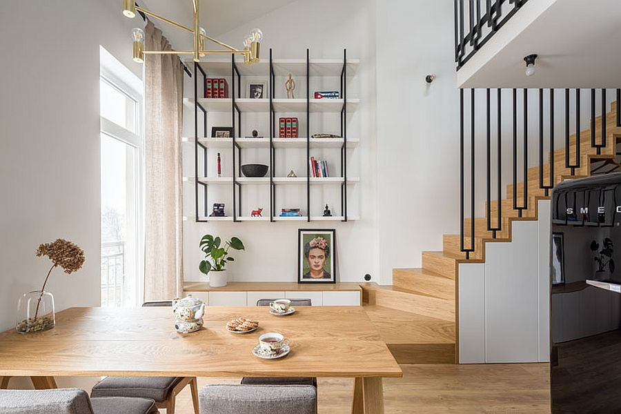 space savvy tiny apartment in poland with mezzanine level in black and white - Space-Savvy Tiny Apartment in Poland with Mezzanine Level in Black and White