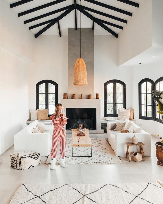"""""""Instagram - Vlogger couple"""" Janni Deler and Jon Olsson simply exudes style. When we jumped into their home update project - we knew it gonna be stunning... Take a sneak peek into their home which was transformed from a traditional Spanish villa to a stunning Ethnic-Scandinavian dream home"""