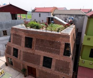 Hanoi perforated brick facade by Vietnamese studio H&P Architects