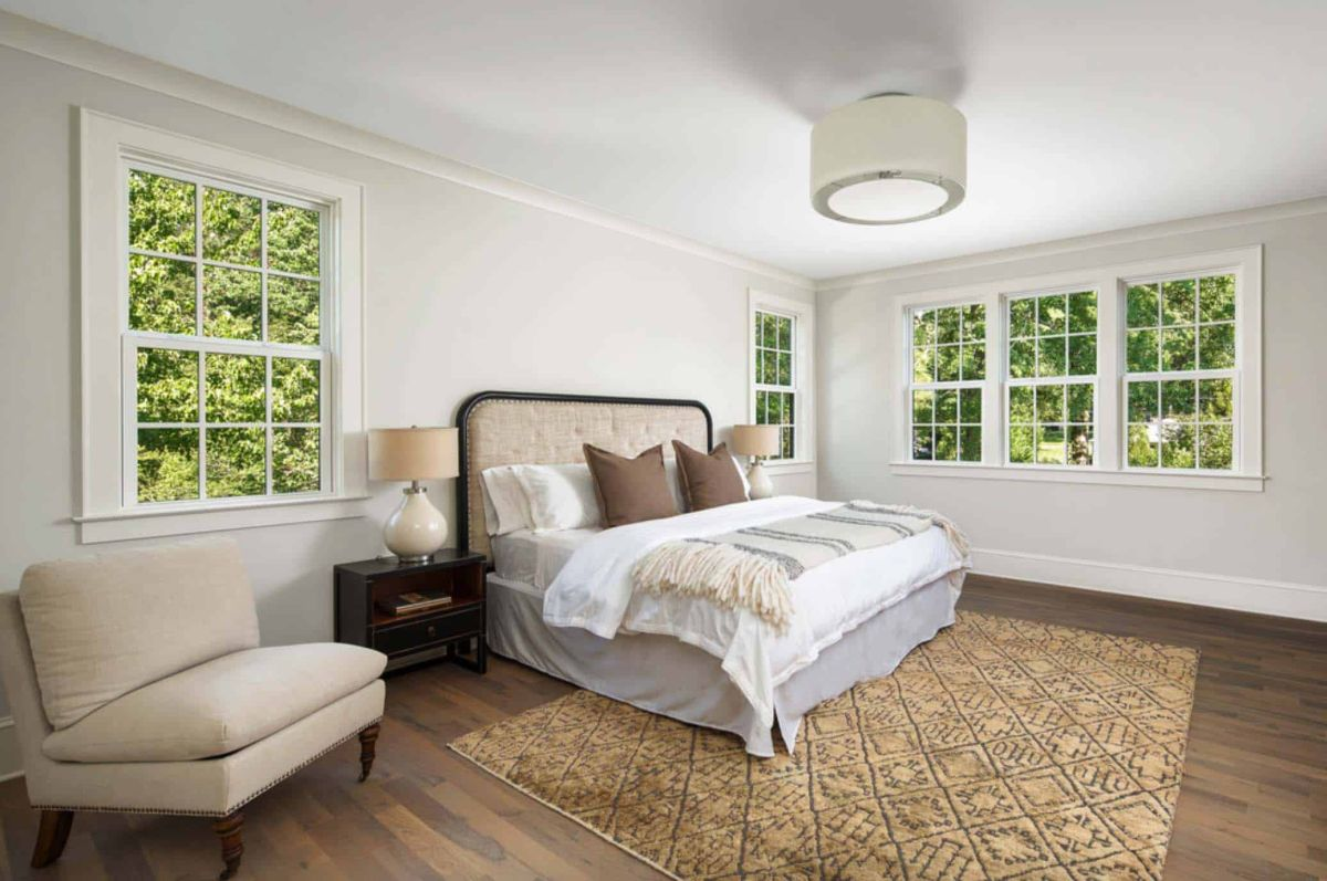 The master bedroom is quite big but maintains a simple and airy vibe