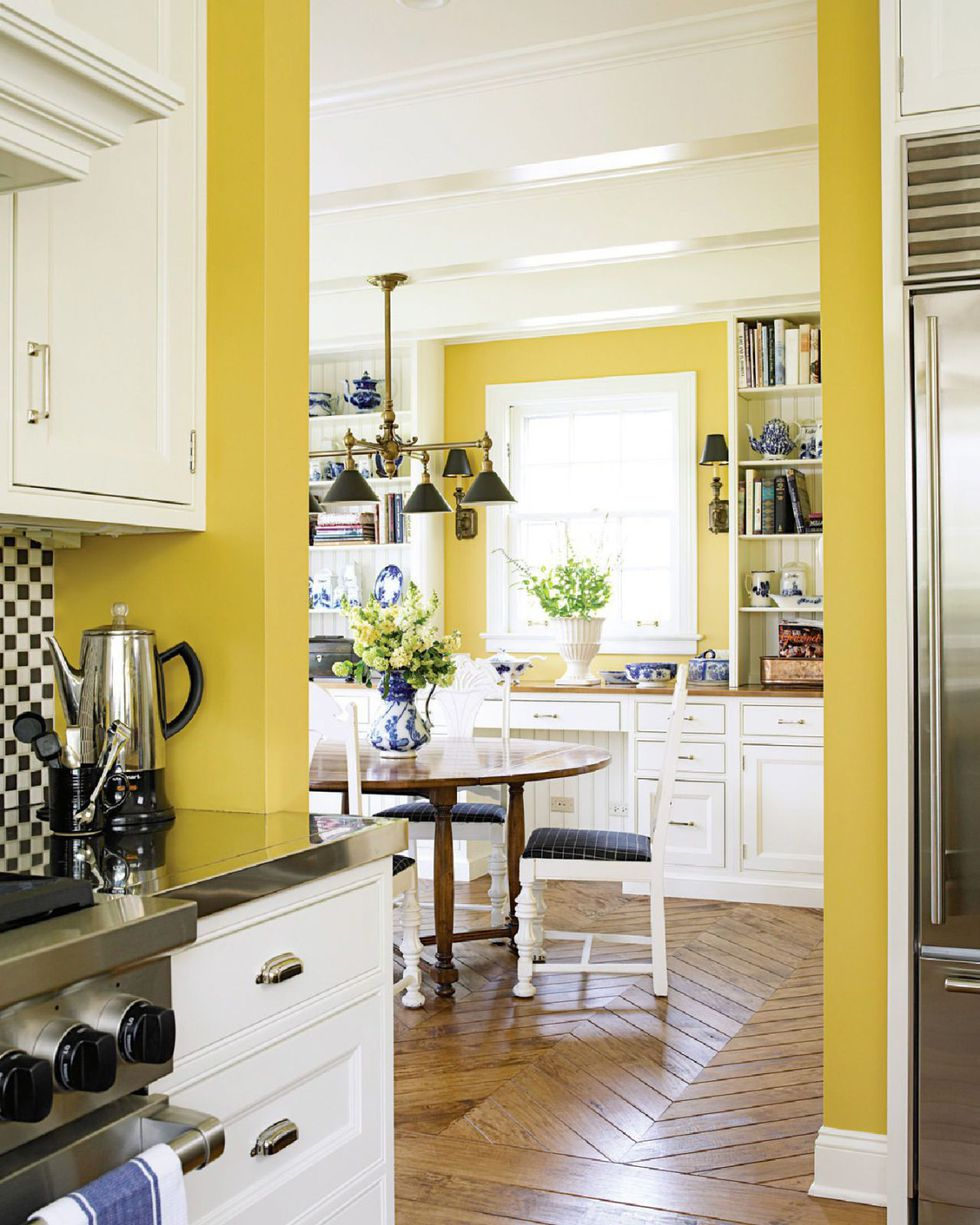 yellow color kitchen wall paint idea