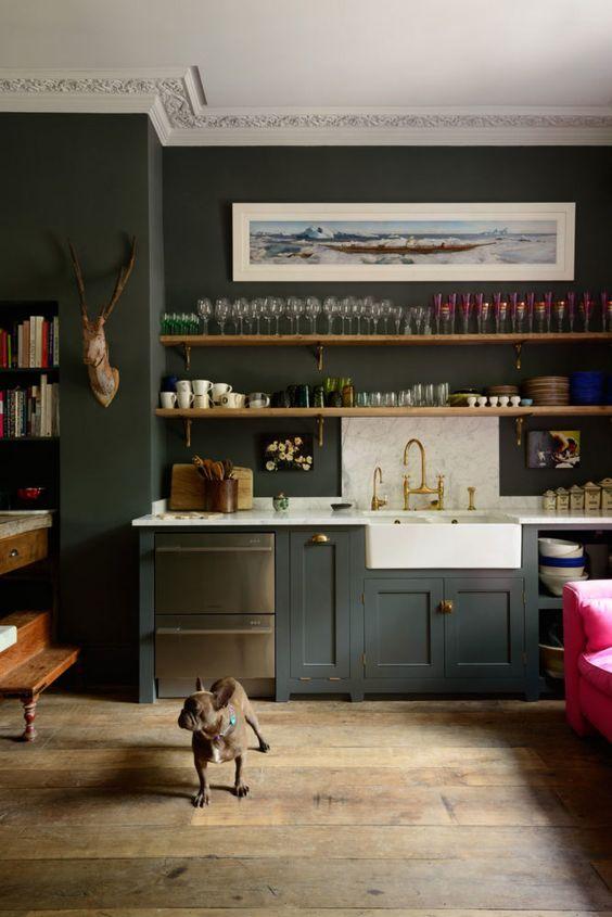 dark green Kitchen Paint Color