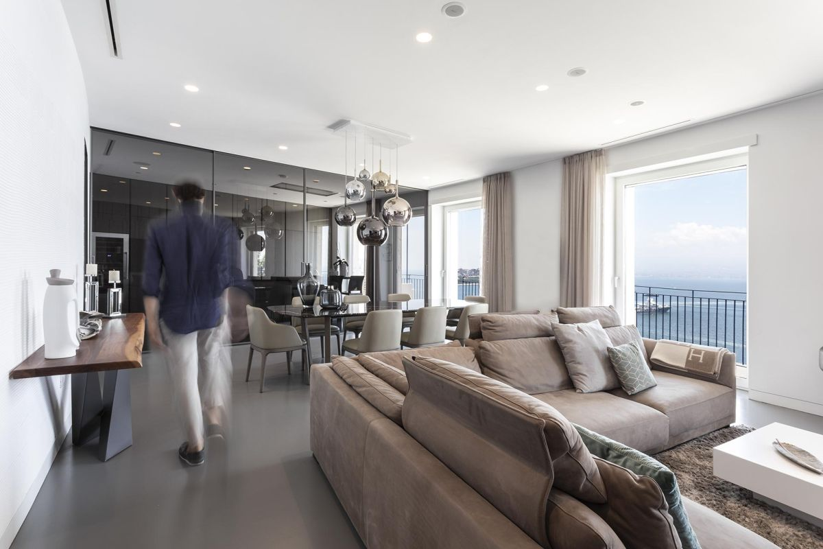 1566287335 967 stylish penthouse apartment overlooks mount vesuvius - Stylish Penthouse Apartment Overlooks Mount Vesuvius