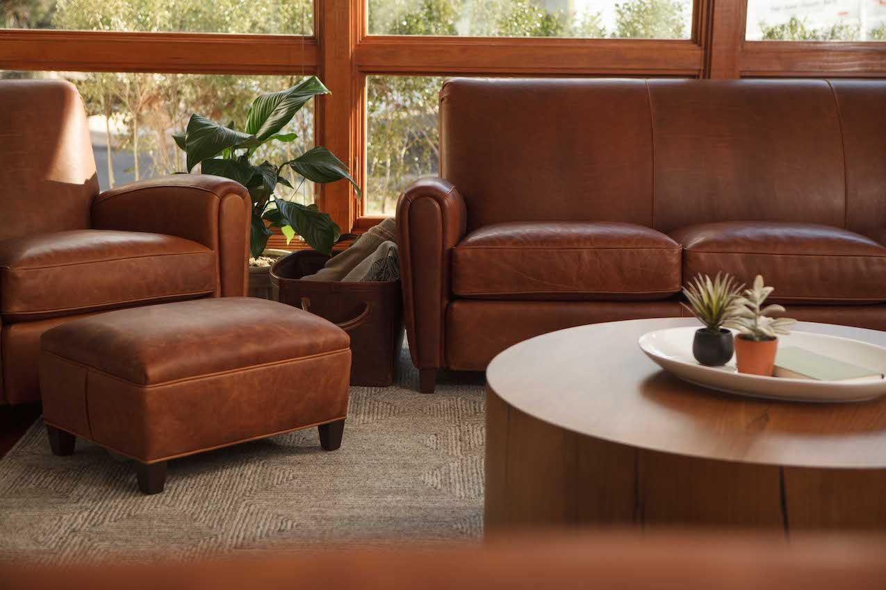 Moore and Giles leather furniture is full grain and embraces natural markings.
