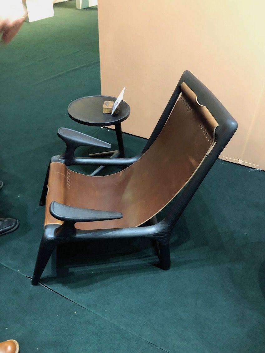 Fernweh's sling chair uses full grain leather.