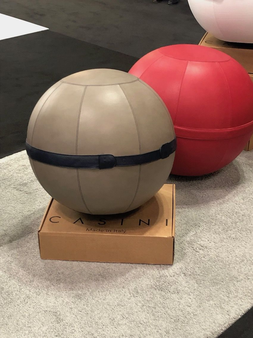 Maurizio Casini sitting balls entirely covered in handcrafted leather.